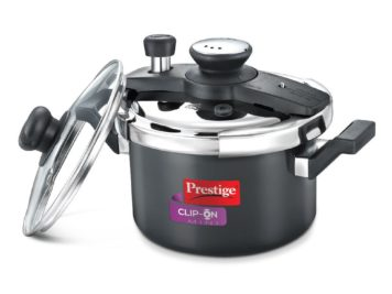 Clip on hard anodised 5 ltr pressure cooker Universal Lid along and glass lid with ladle holder
